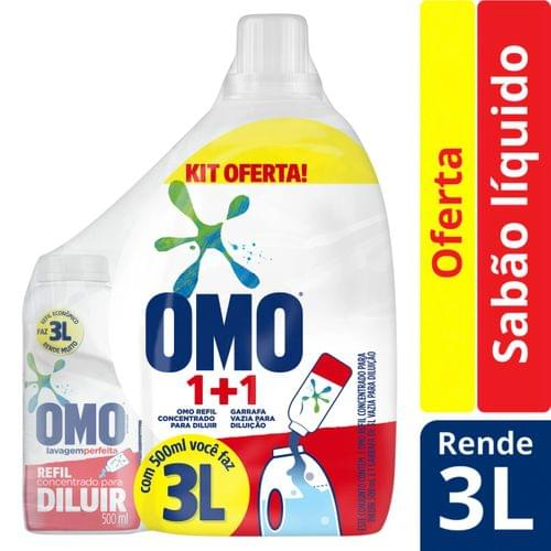 Imagem de Lava-roupas líquido omo 500ml lavagem perfeita p/ diluir+ garrafa