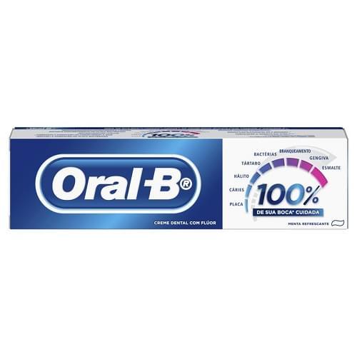 Imagem de Creme dental tradicional oral-b 70g 100% menta refrescante