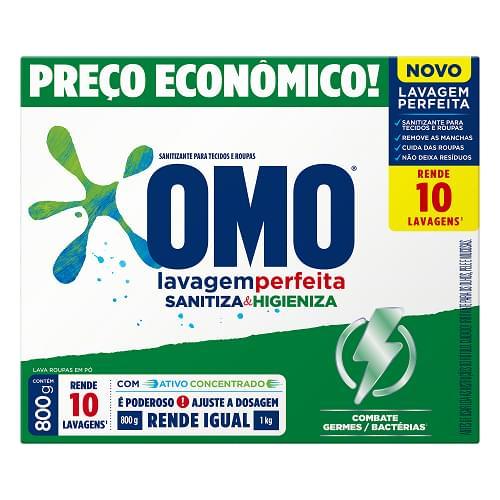 Imagem de Detergente em pó omo 800g lavagem perfeita sanitizante