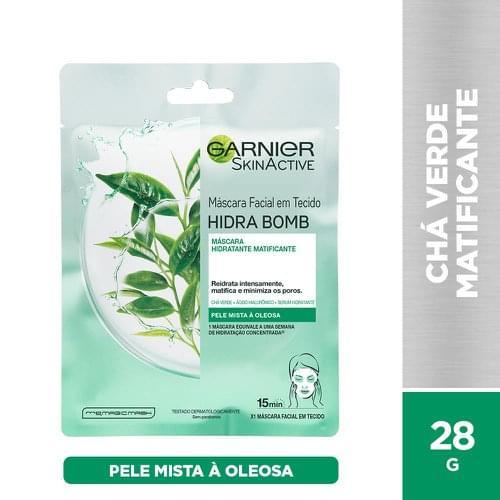 Imagem de Máscara facial garnier skin 28g tecido chá verde