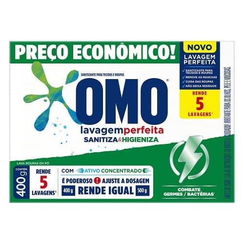 Imagem de Detergente em pó omo 400g lavagem perfeita sanitizante