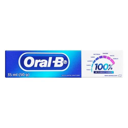Imagem de Creme dental tradicional oral-b 50g 100% menta refrescante
