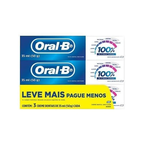 Imagem de Creme dental tradicional oral-b 50g 100% menta refrescante lv+pg- c/3