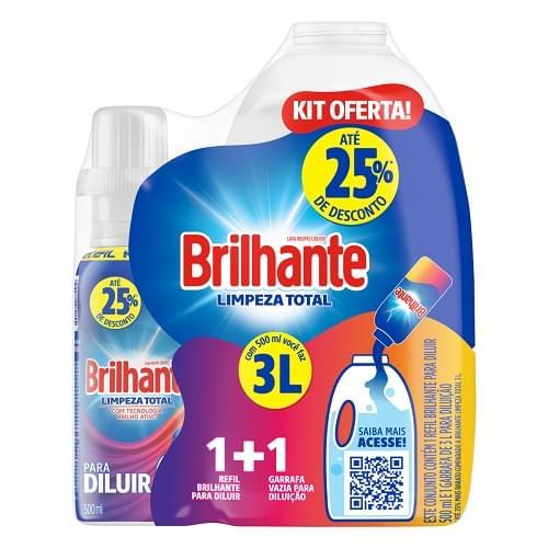Imagem de Lava-roupas líquido brilhante 500ml l.total diluir+garrafa 3l