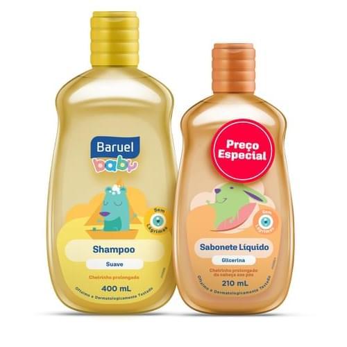 Imagem de Kit infantil baruel baby shampoo 400ml suav+sabonete 210ml glicer