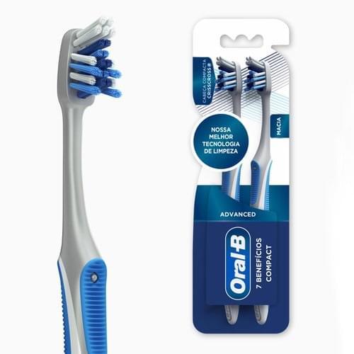 Imagem de Escova dental macia oral-b c/2 advanced 7 benefícios compact