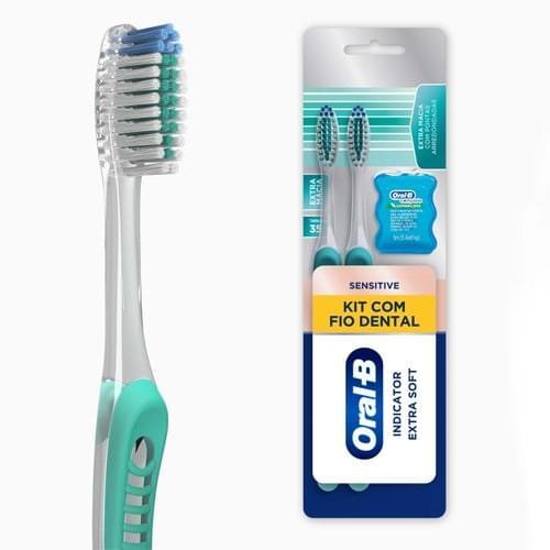 Imagem de Escova dental extra macia oral-b indicator sensitive+fio dental complete