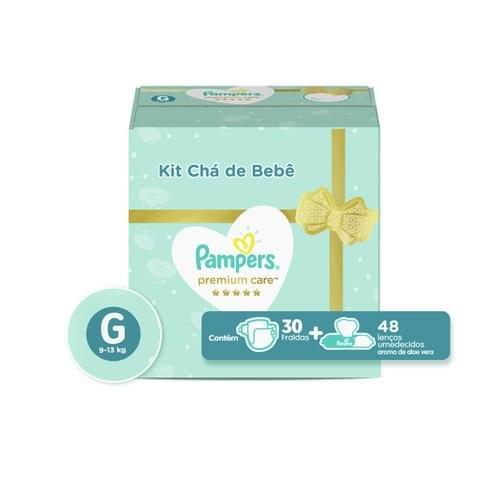 Imagem de Fralda infantil pampers premium care c/30 g + lenço