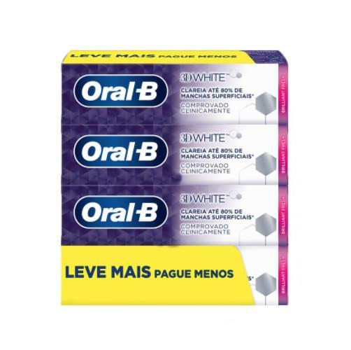 Imagem de Creme dental tradicional oral-b 70g c/4 3d white brilliant fresh lv+pg-