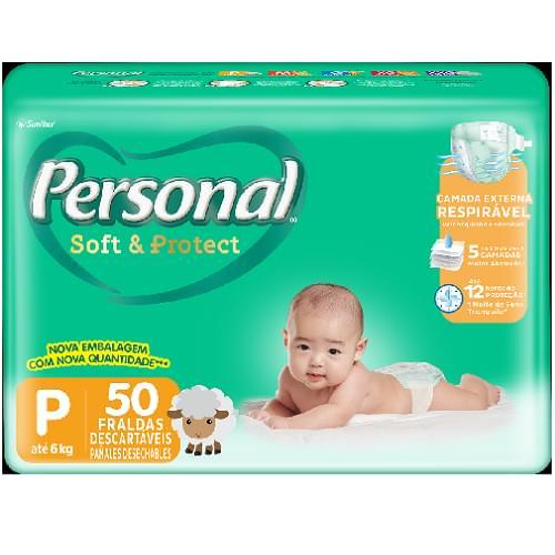 Imagem de Fralda infantil personal c/50 soft & protect pequena pc