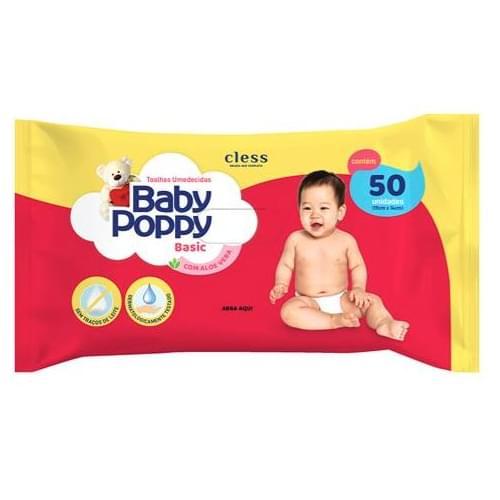 Imagem de Lenço umedecido sache baby poppy c/50 basic toalha
