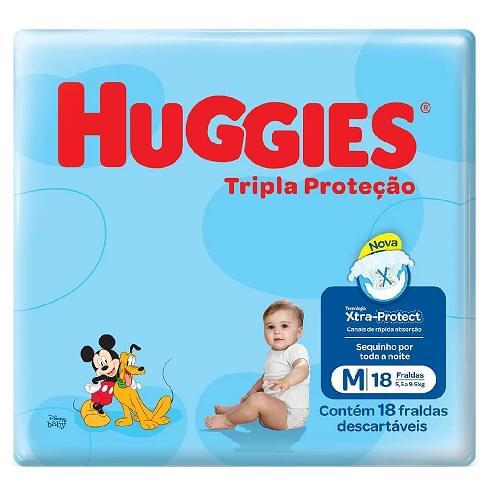 Imagem de Fralda infantil huggies c/18 tripla proteção jumbinho m pc