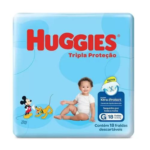 Imagem de Fralda infantil huggies c/18 tripla proteção jumbinho g pc