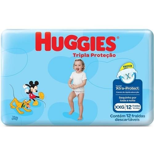 Imagem de Fralda infantil huggies c/12 tripla proteção jumbinho xxg pc