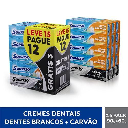 Imagem de Creme dental tradicional sorriso 90g dentes brancos l12 + 3 cd carvão grátis pc