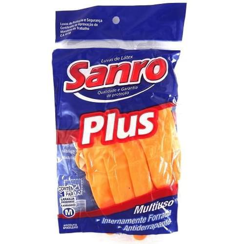 Imagem de Luva uso geral sanro plus laranja m