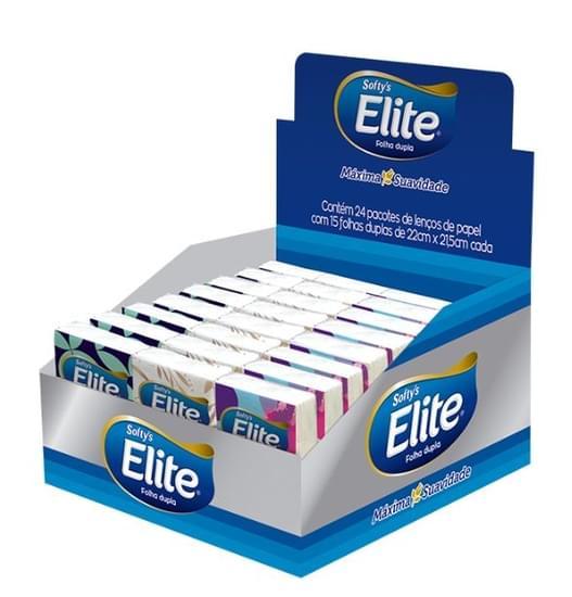 Imagem de Lenço de papel elite display com 24 unidades de 15 folhas softys