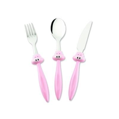 Imagem de Conjunto 03 peças talher infantil porco rosa - 0550-3 – hercules