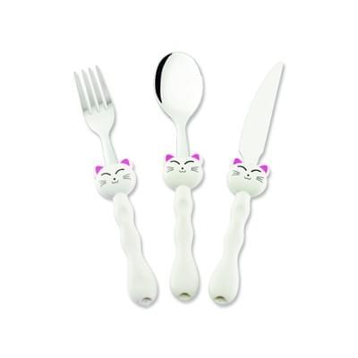 Imagem de Conjunto 3 peças talher infantil gato branco - 0556-3 - hercules