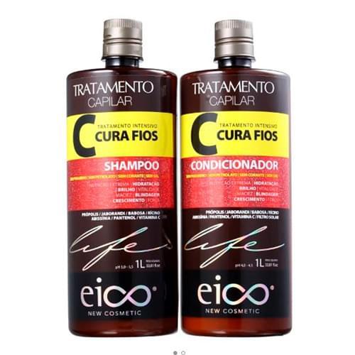 Imagem de Kit shampoo + condicionador eico cura fios 1l
