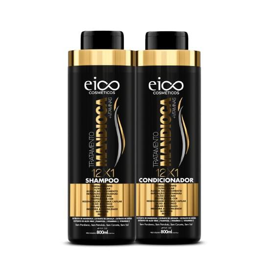 Imagem de Kit shampoo + condicionador eico tratamento mandioca 800ml